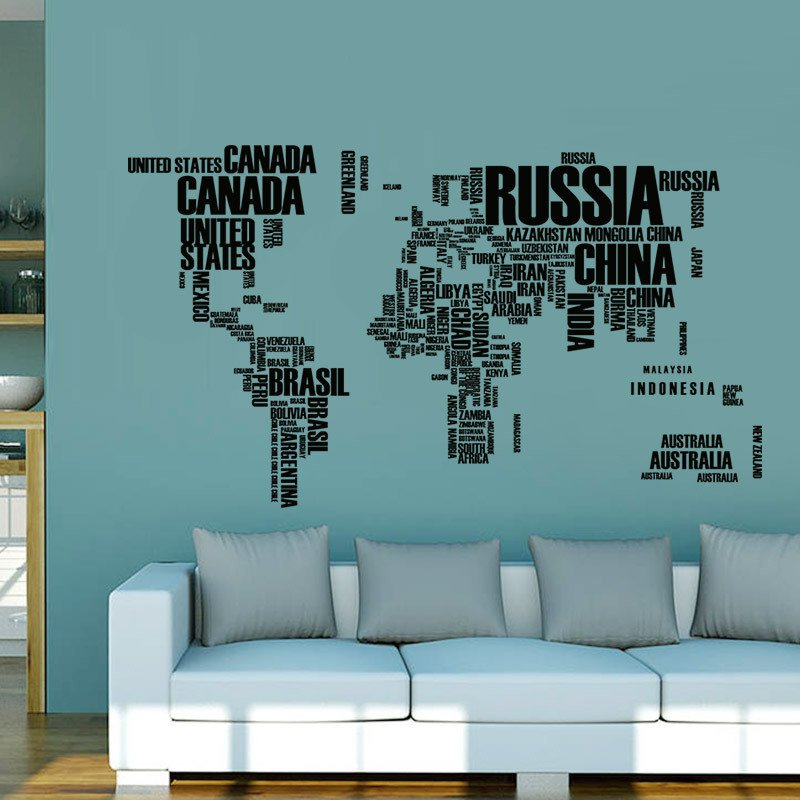 Geography WORLD MAP Wall Sticker Decals Home lounge area ofiice area Art Deco
