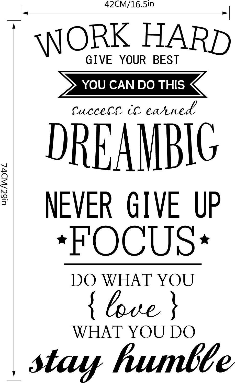 Work Hard Dream Big Inspirational Wall Sticker Quote Walling Shop