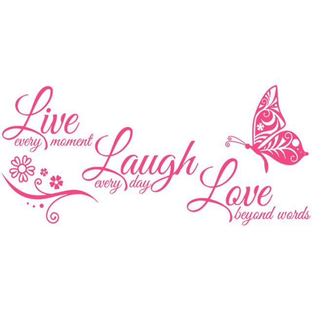 Live Laugh Love Butterfly Flower Wall Stickers