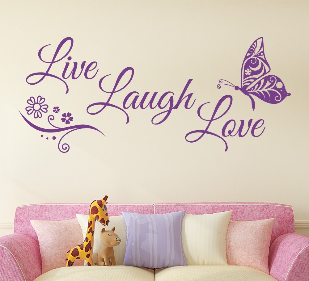 Live Laugh Love Butterfly Flower Wall Stickers Walling Shop