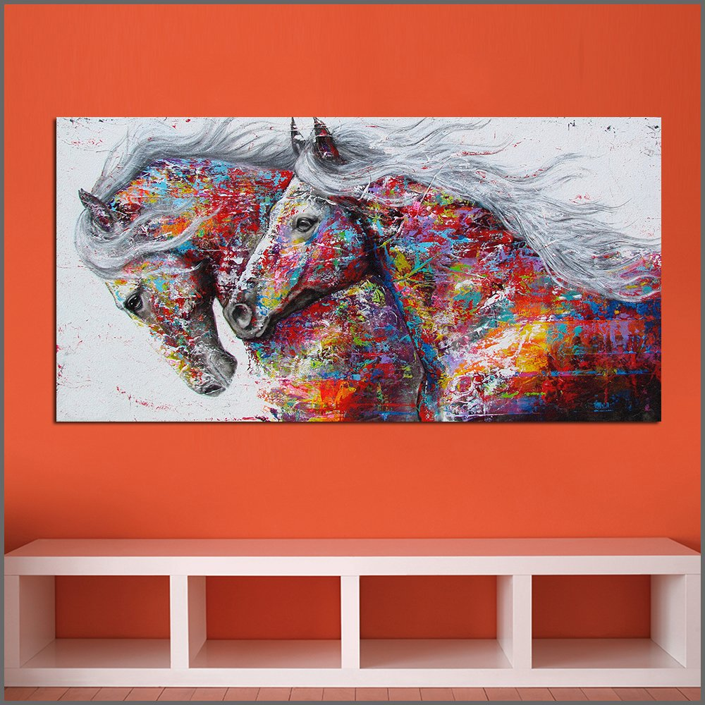 Large Abstract Horse Canvas Wall Art