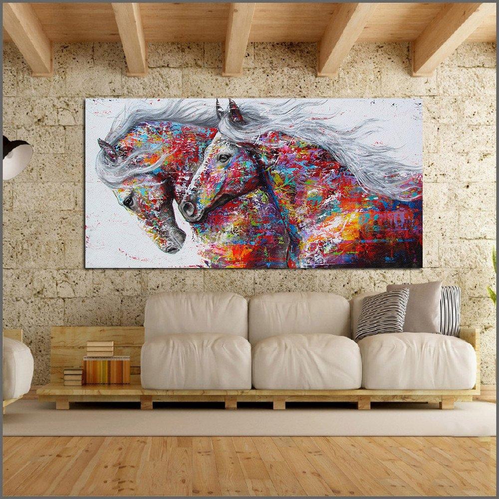 Large Abstract Horses Canvas Wall Art