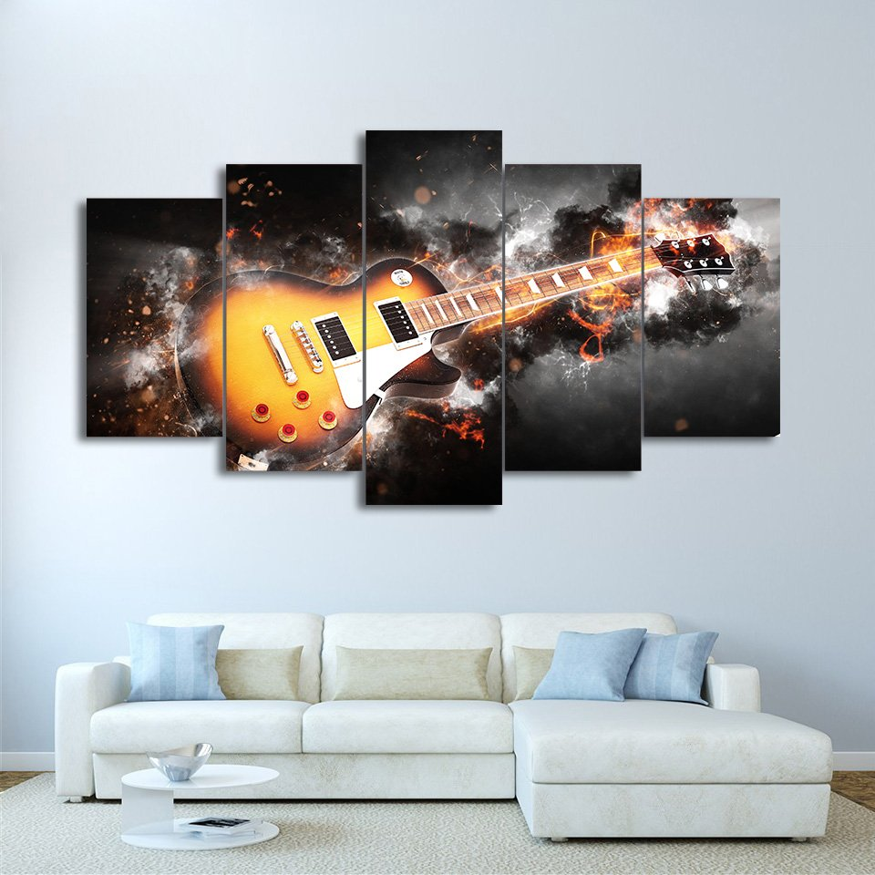 5 Canvas Painting Flame Musical Instrument Wall Art