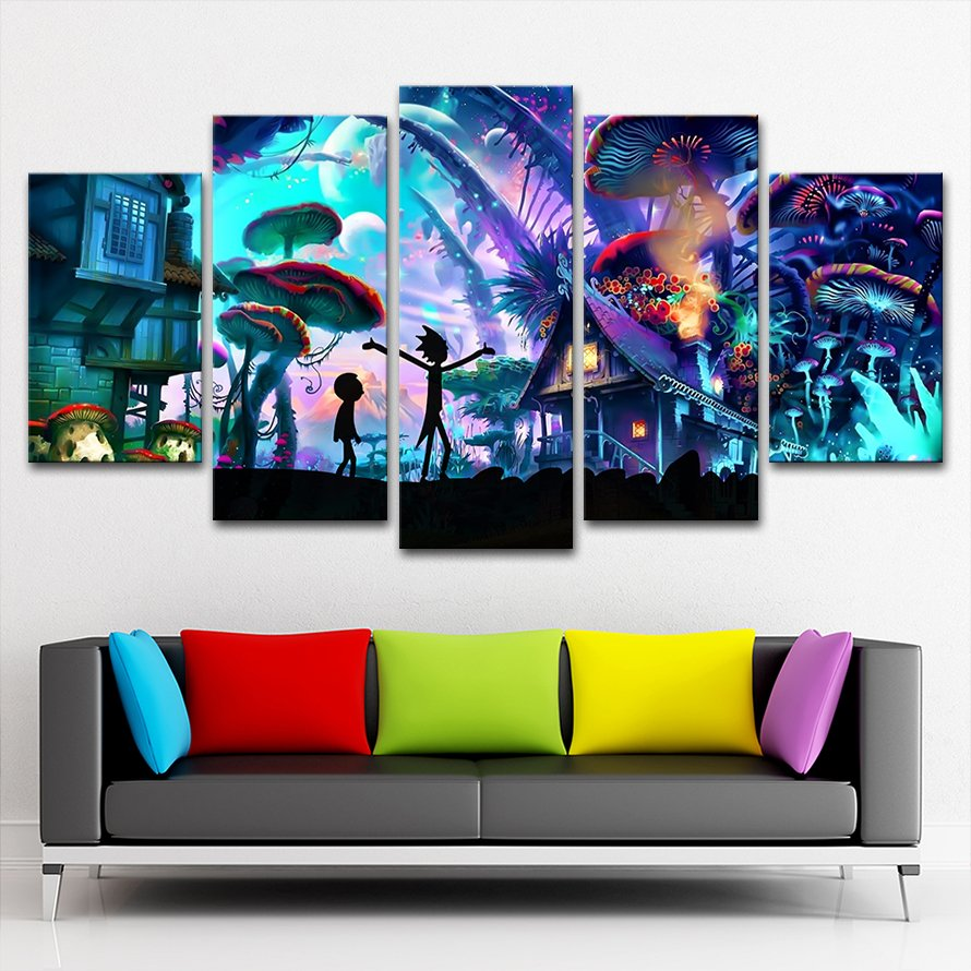 5 Panels Rick And Morty Wall Canvas Painting Walling Shop