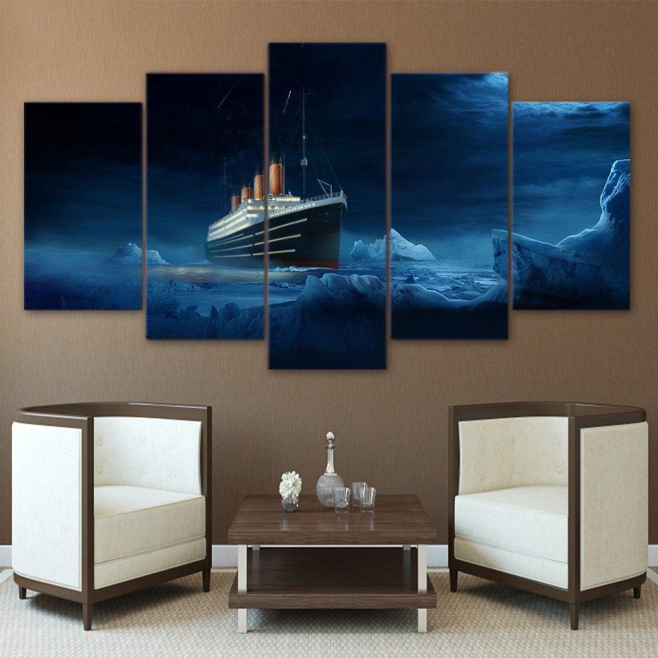 5 Panel Titanic Iceberg Movie Wall Canvas Walling Shop