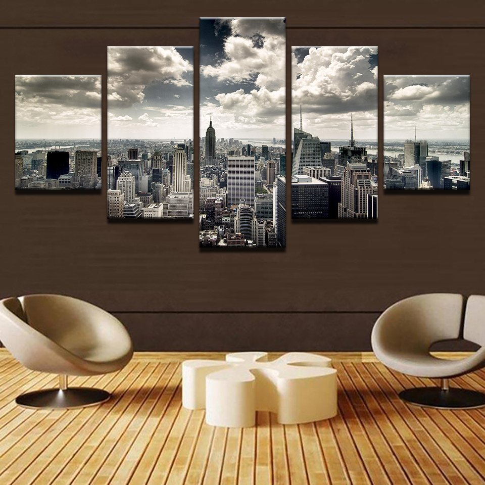 5 Panel City Building Aerial View Wall Canvas Walling Shop