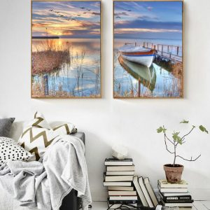 Modern-Scenery-Nordic-Sunset-Boat-Bridge-Canvas-Painting-2-Panels-Unframed-Modular-Picture-for-Living-Room.jpg