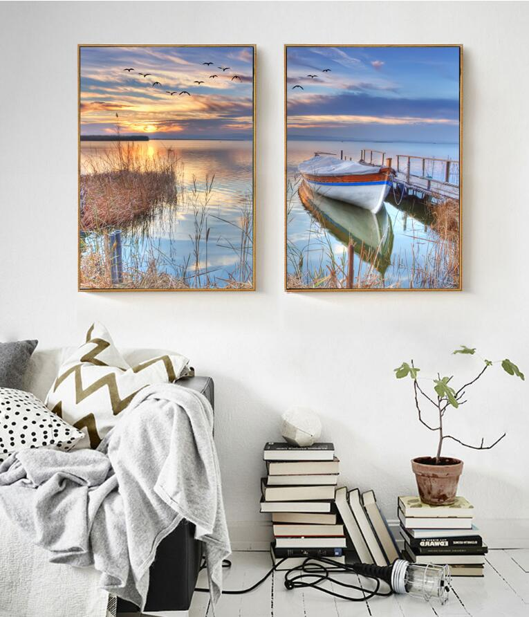 Modern Scenery Nordic Boat on Sunset Canvas