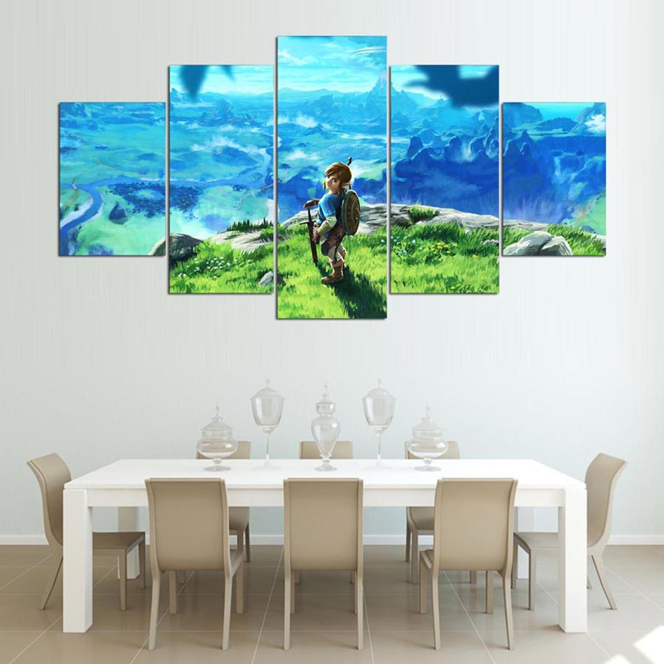 5 Panel Legend Of Zelda Canvas Wall Art