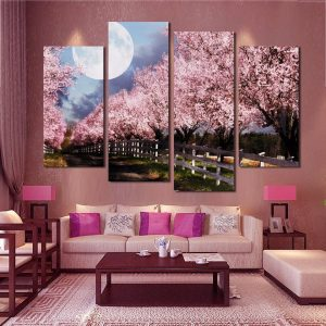 Wall-Art-Canvas-Painting-Decor-4-Panels-Pink-Purple-Trees-Landscape-Frame-Modular-Pictures-Living-Room-16.jpg