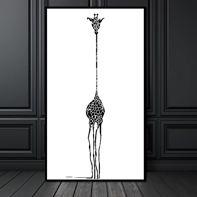 Black And White Abstract Giraffe Canvas Art