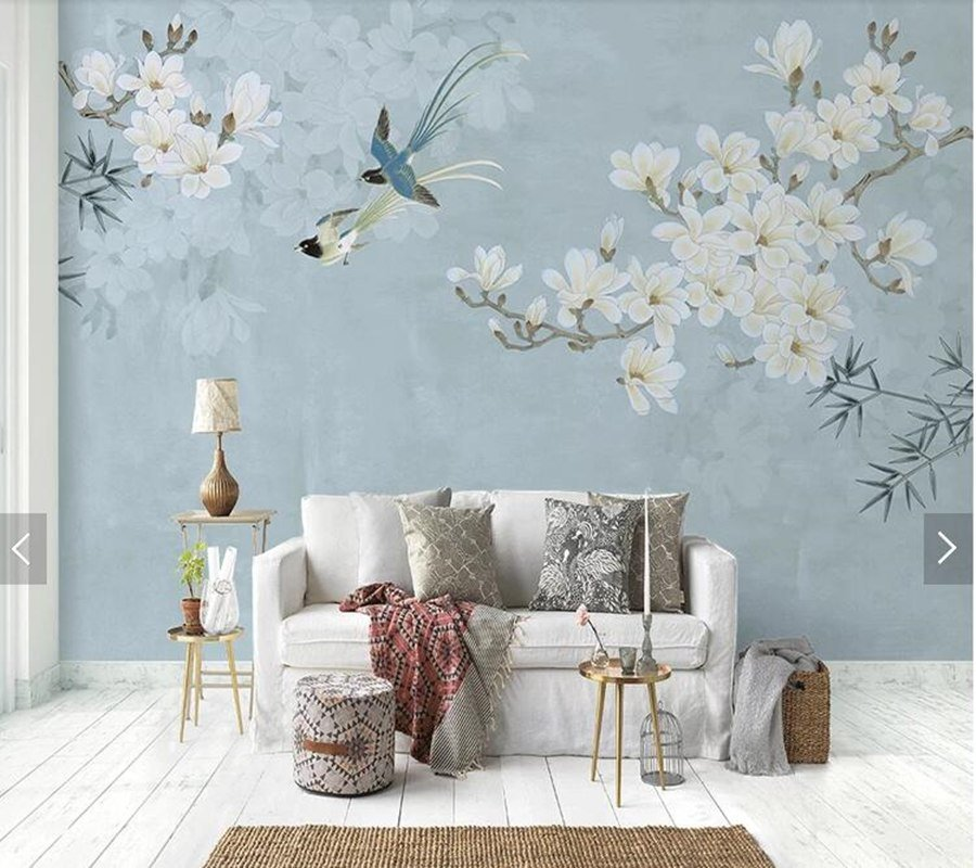 Flowers Wall Wallpapers Design For Your Bedrooms Decorating: Magnolia Flower And Bird Mural Wallpaper