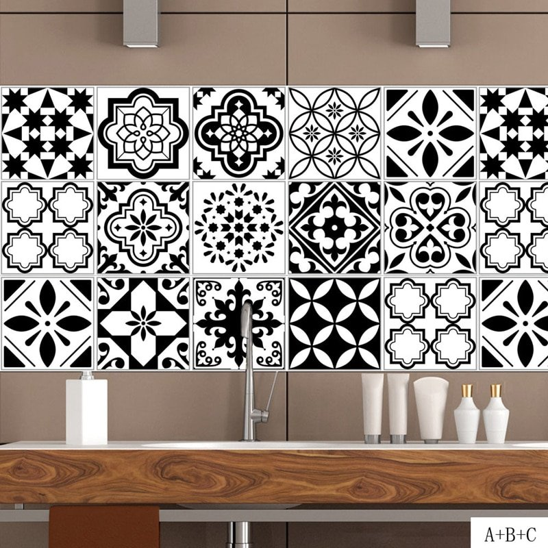 Diy Black And White Self Adhesive Kitchen Wall Tiles