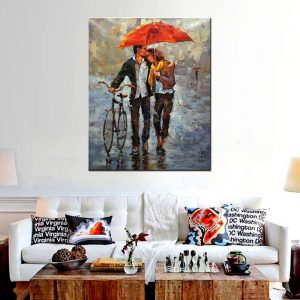 Giclee-Printed-Couples-Holding-Red-Umbrellas-Hold-Bicycles-Knife-Oil-Painting-Print-on-Canvas-Landscape-Picture.jpg