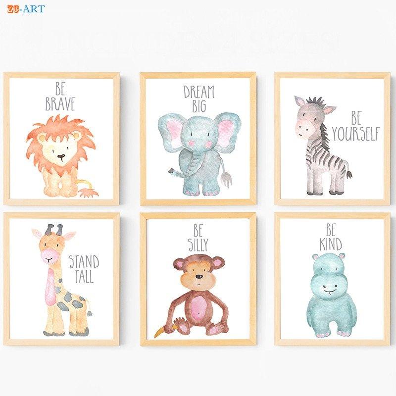 Baby Animals Framed Art Set Of 5: Kids Framed Safari Canvas Painting