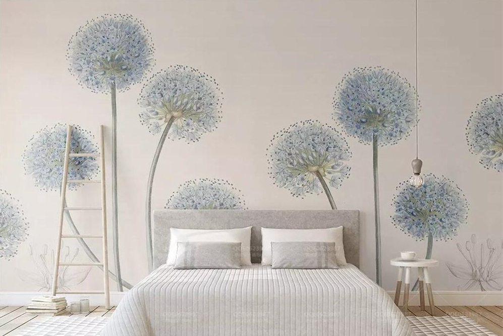 3D Elegant Minimalist Dandelion Nordic Wallpaper