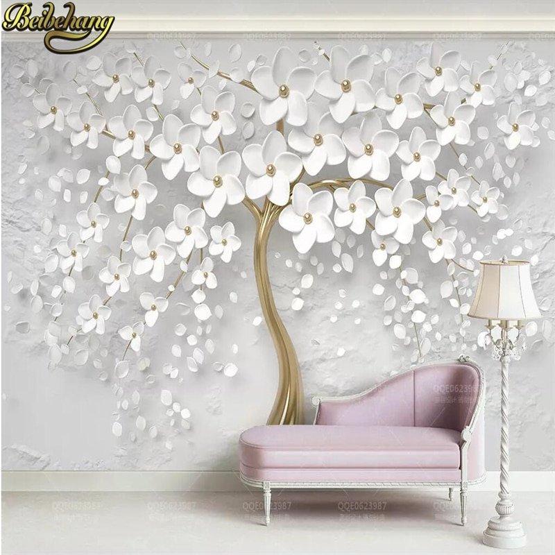 3d Tree Flowered Mural Wallpaper Walling Shop
