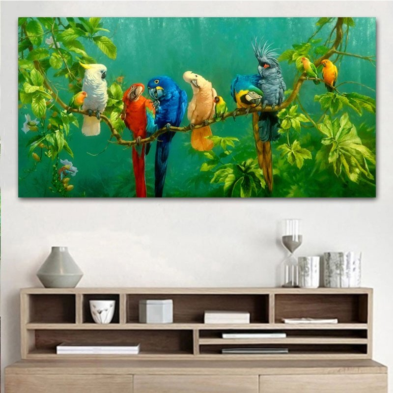 1 Pc Pictures Colorful Parrots Animal Painting Canvas Wall Art Prints For Living