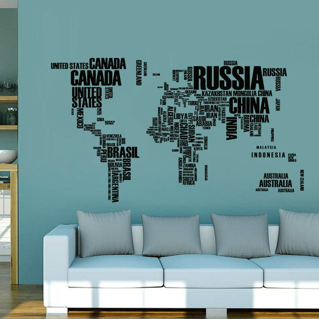 Walling shop shop stunning wallpapers wallstickers and for Black and white world map wall mural