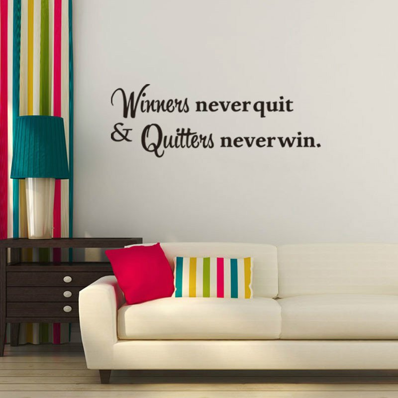 Winners Never Quit Motivational Quote Wall Sticker