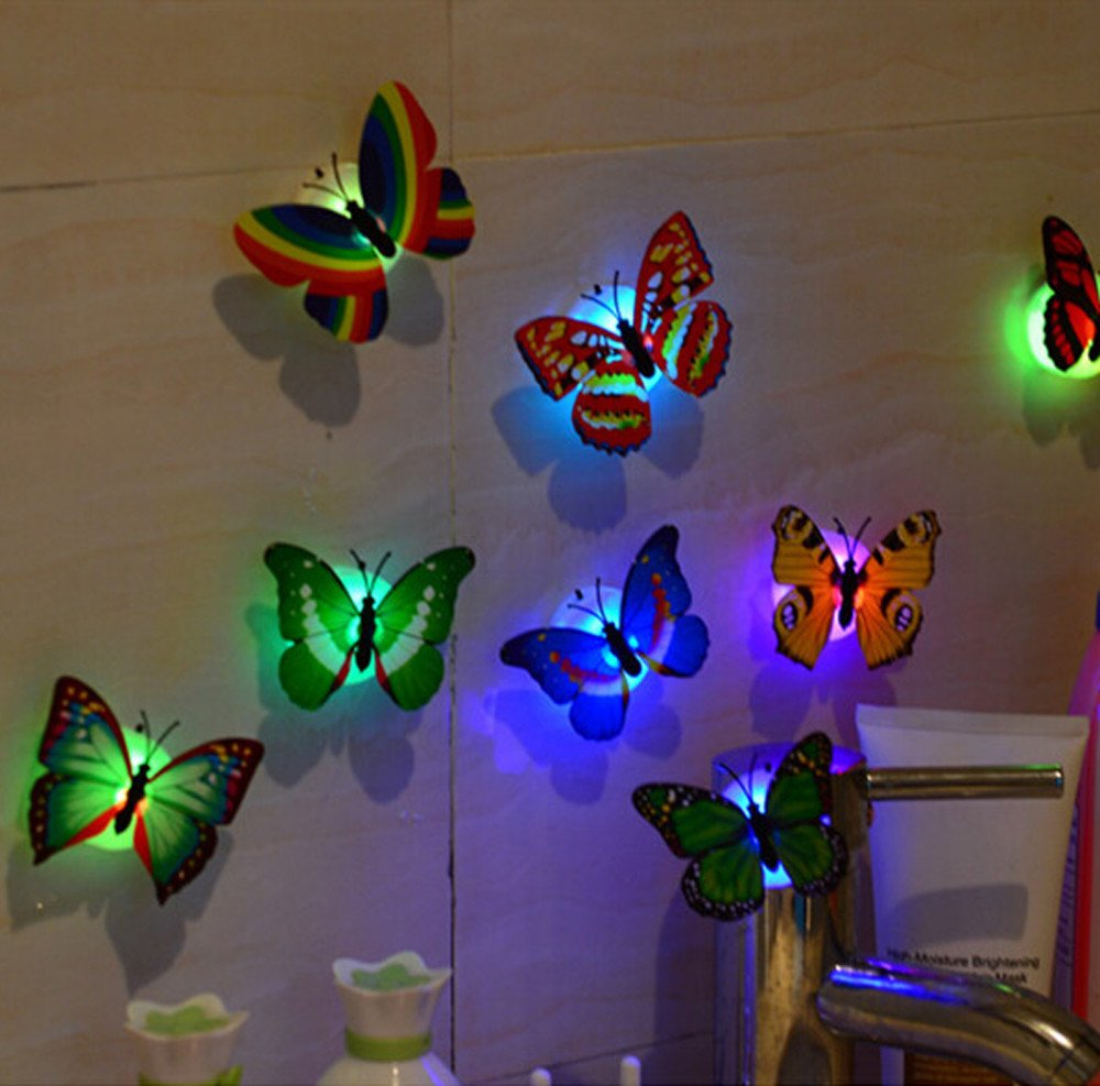 Led Decor Lights: 10Pcs 3D Butterfly LED Lights Wall Decor