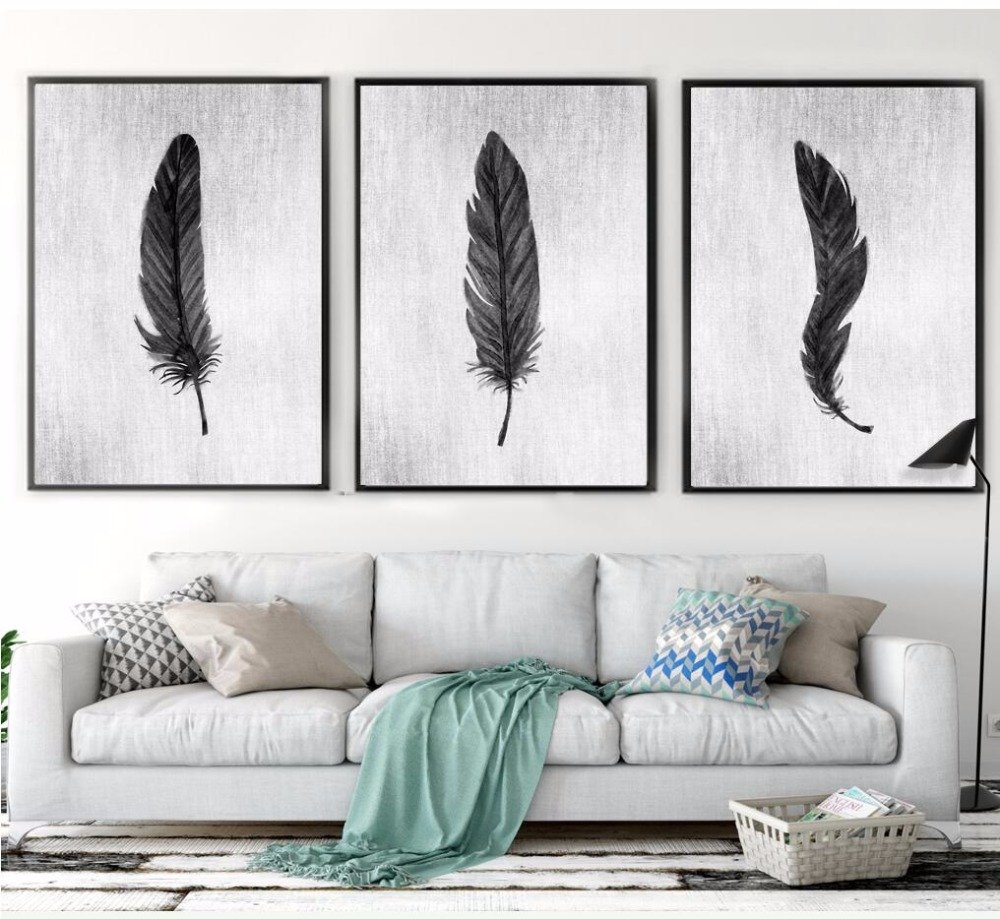 Nordic-Home-Decor-Hand-Painted-White-And-Black-Feather-Canvas-Painting-Wall-Pictures-For-Living-Room.jpg