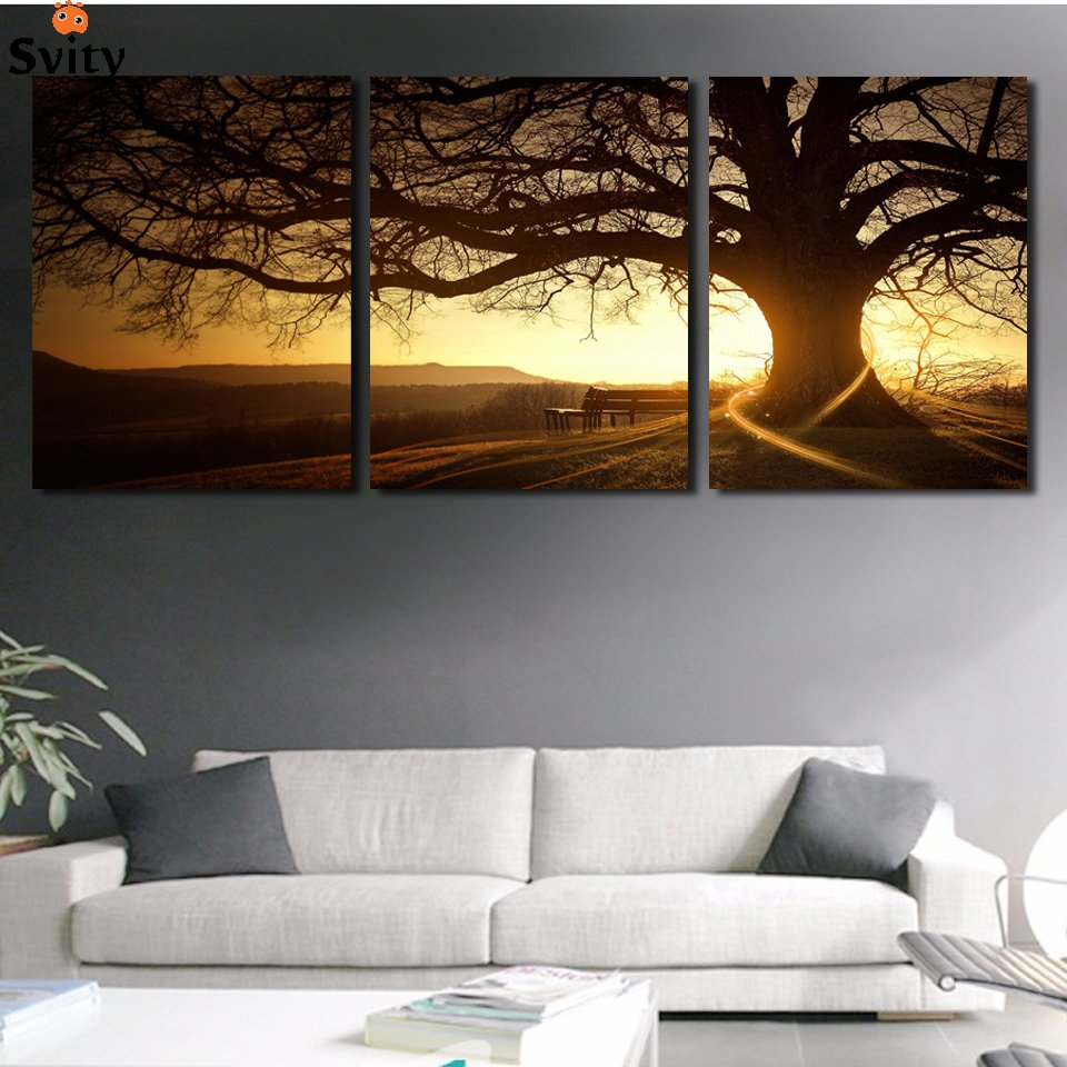 cuadros sunset 3 panel canvas wall art walling shop. Black Bedroom Furniture Sets. Home Design Ideas