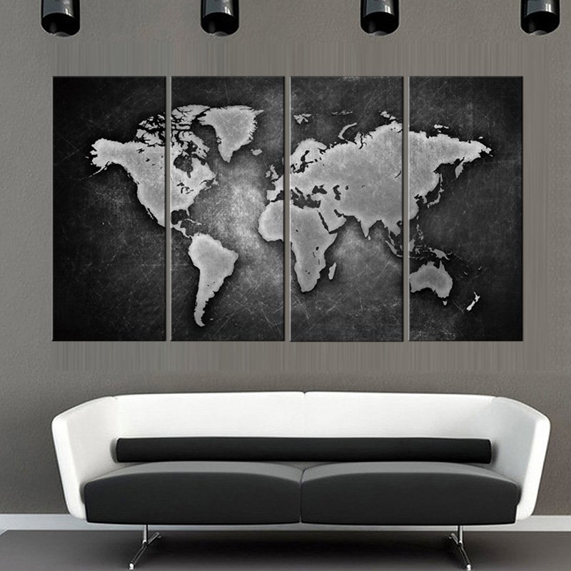 4 Pcs Framed Black And White World Map Walling Shop