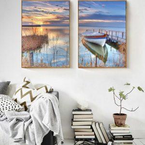Modern-Scenery-Nordic-Sunset-Boat-Bridge-Canvas-Painting-2-Panels-Unframed-Modular-Picture-for-Living-Room.jpg