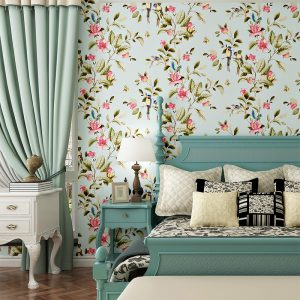 American-Style-Bedroom-Wall-Covering-Modern-Vintage-Pink-Floral-Wallpaper-Blue-Tropical-Butterfly-Birds-Flower-Wall.jpg