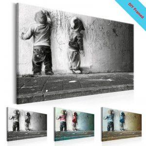 DIY-Framed-Canvas-Painting-Boys-Scrawl-Wall-Art-Sparring-Canvas-Prints-Banksy-Graffiti-Canvas-Wall-Art.jpg